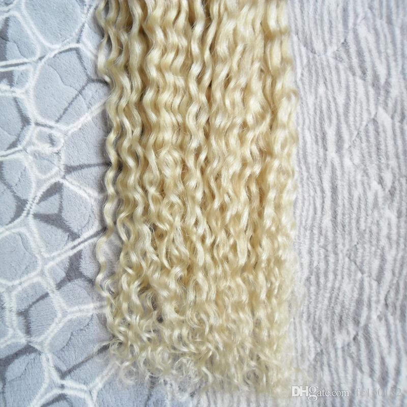Curly fusion hair extensions 100g 613 blonde virgin hair pre bonded u tip hair extensions human
