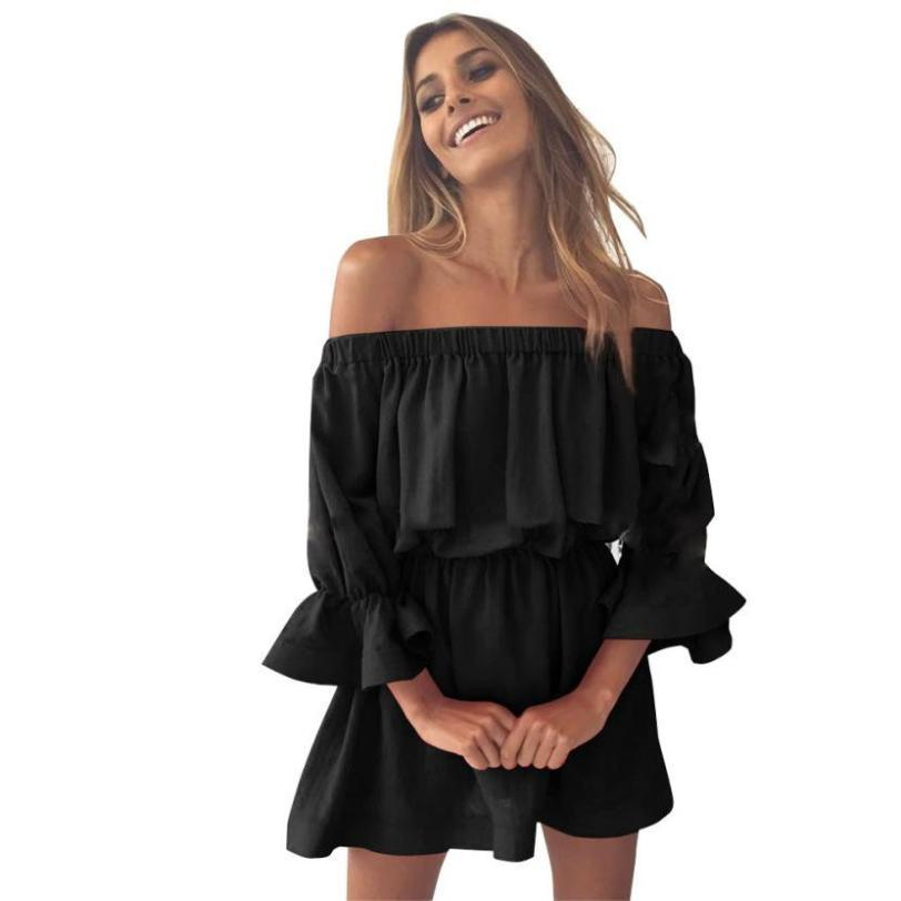 Vestidos Verano 2019 Fashion Casual Women Flare Sleeve Off Shoulder