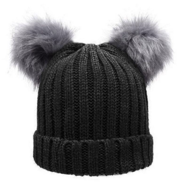 78e612c0b Women s Winter Hat Knit Caps Faux Fur Chunky Pom Pom Hat Female Beanies  Women Wool Crochet Warm Bobble Cap Pompom Gorros 2016