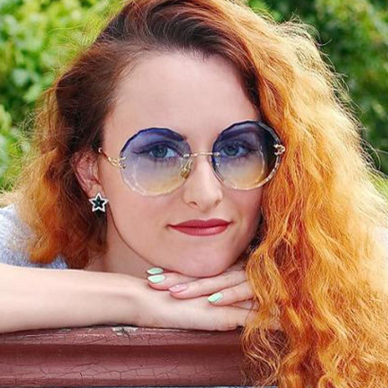 711cf3253a New Round Sunglasses Women Brand Designer Rimless Gradient Clear Pink Sun  Glasses 2018 Fashion Lady Oversized See Through Shades Native Sunglasses  Wholesale ...