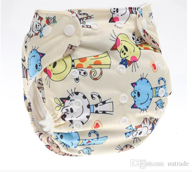 Baby Adjustable waterproof Diaper Baby Reusable Nappy Pants Infant Baby Boy Girl Swimming Diapers Printed cloth diapers design mixed