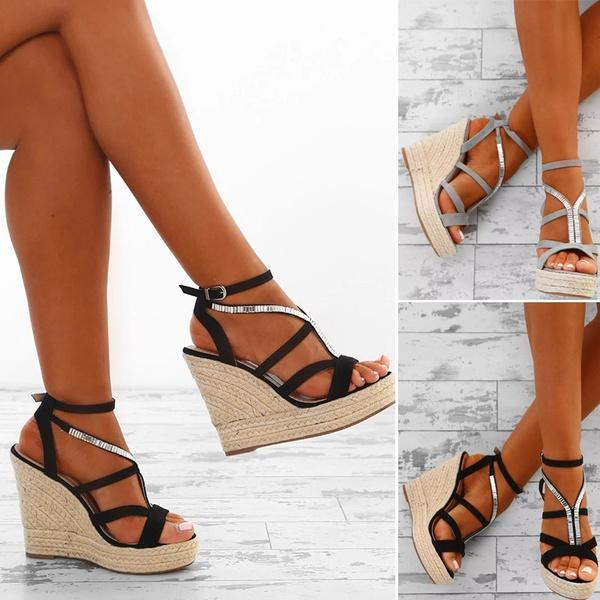 551129a890c 2018 Sexy Women Summer Fashion High Heel Sandals Casual Bandage Open Toe  Wedge Sandals Shoes Ankle Strap Buckle Soft and Comfortable Sandals