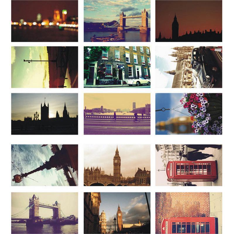 30 unids / lote vintage Recordar postal de Londres tarjeta de felicitación del paisaje tarjeta de navidad tarjeta de cumpleaños mensaje tarjetas de regalo