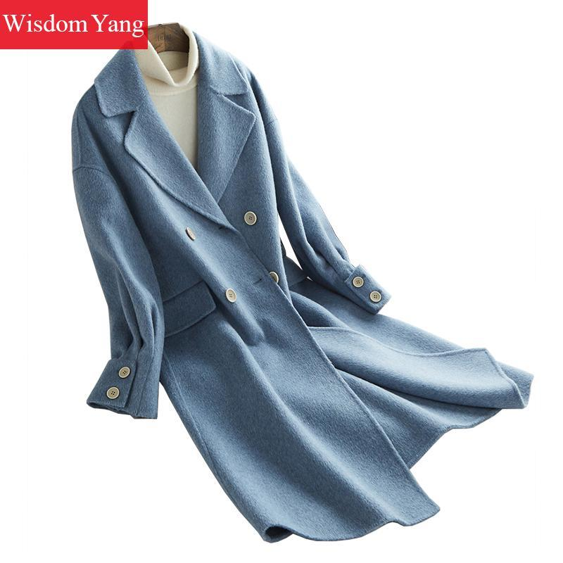 san francisco a41de f1a05 Blau Rosa Orange Wolle Frauen Alpaka Mäntel Winter Warme Elegante Weibliche  Langen Mantel Wollgürtel Oversize Damen Mantel Oberbekleidung