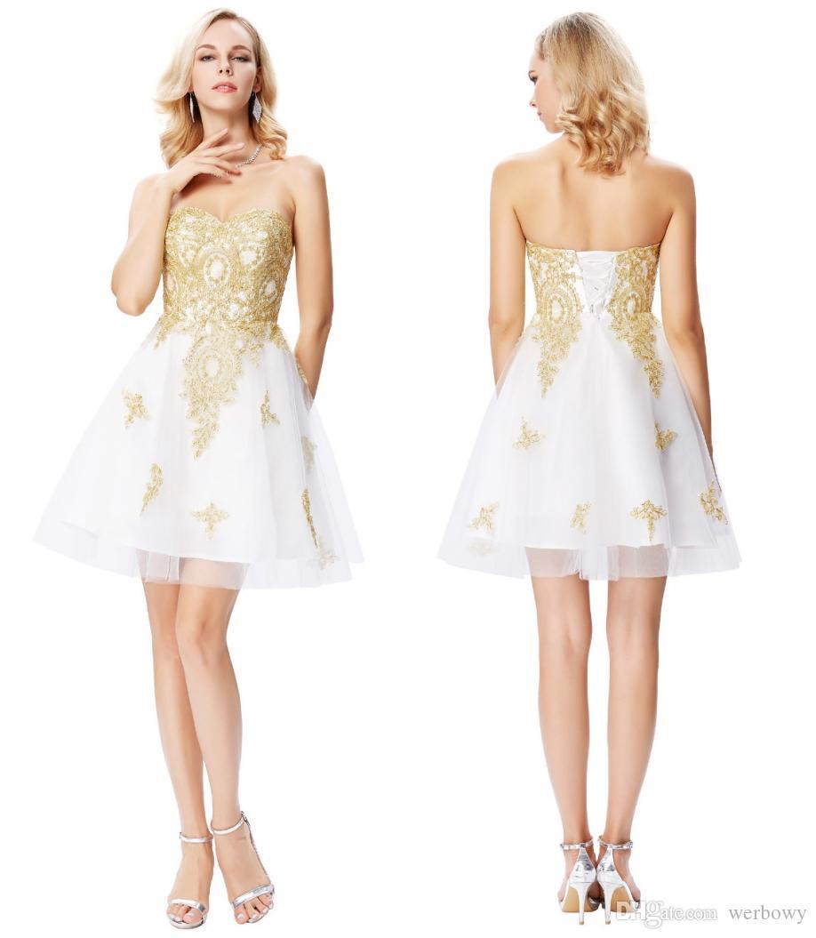 f8f342488 Compre Grace Karin Corto Blanco Vestidos De Cóctel Sweetheart Oro Apliques Formal  Vestidos De Baile Cocktail Jurk Tulle Coctail Vestidos HY374 A  100.51 Del  ...