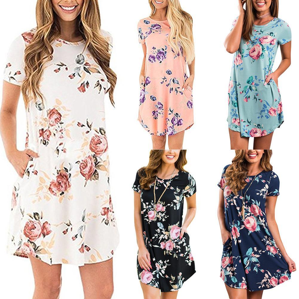 f857985de7d Summer Women Casual Mini Dress Floral Print O Neck Short Sleeve Pocket  Loose Elegant Dress 2019 T Shirt Dress Female Clothing White Prom Dresses  Black Tie ...