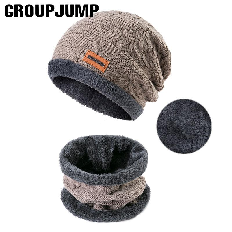 cbdc06822a1 2019 GROUPJUMP 2018 Fashionable Men Winter Hats Scarves Cotton Knitted Hat  Scarf Set Skullies Beanes Keep Wram Accessories From Geworth
