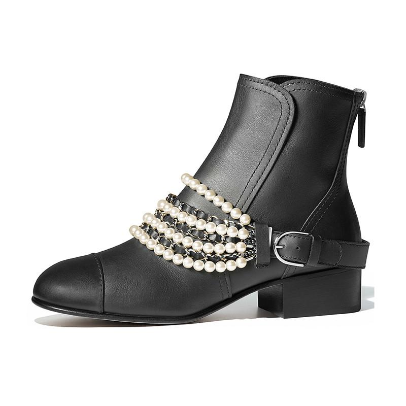 ebb03f53f String pearls sexy chains ankle boots women genuine leather round toe  square heels short boots black back zipper shoes women
