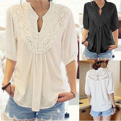 54c68aae5a 2019 Women Loose Short Sleeve Casual Blouse Shirt Tops Fashion Summer Black  White Lace Summer From Caicaijin04, $26.5 | DHgate.Com
