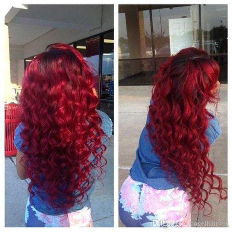 Forma longa solto Wine Curly vermelho peruca sintética Ombre Black to Burgundy Red resistente ao calor peruca dianteira do laço da Mulher Negra