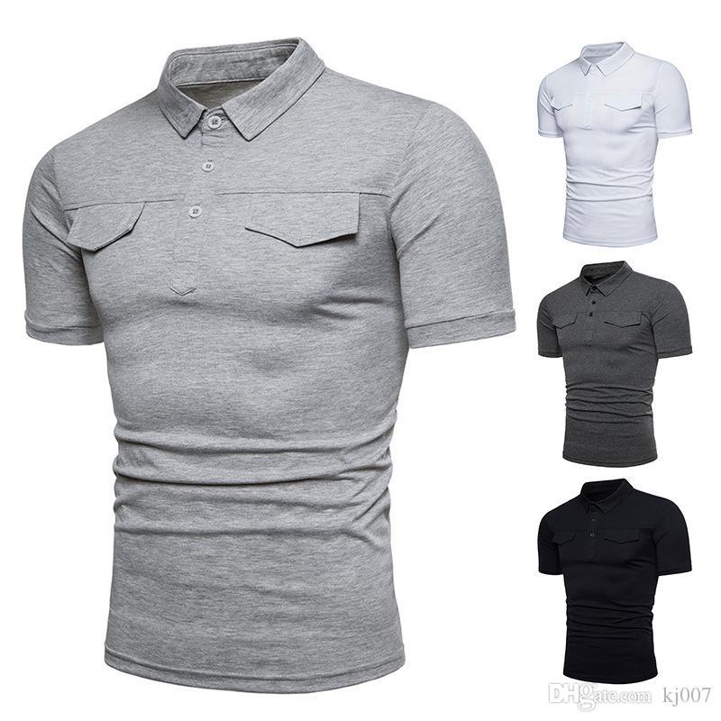 0bfde4e148146 Compre Camisas De Moda Para Hombre 2018 Sólido Cuello De Solapa Camisas De  Polo Diseño Falso De La Cubierta De Bolsillo Nueva Camiseta De Manga Corta  Marca ...