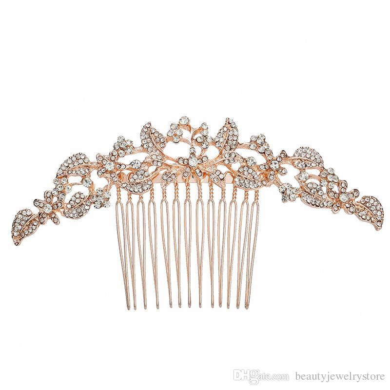 2019 Rose Gold Hair Comb For Bridal Hair Accessories Shiny Beaded