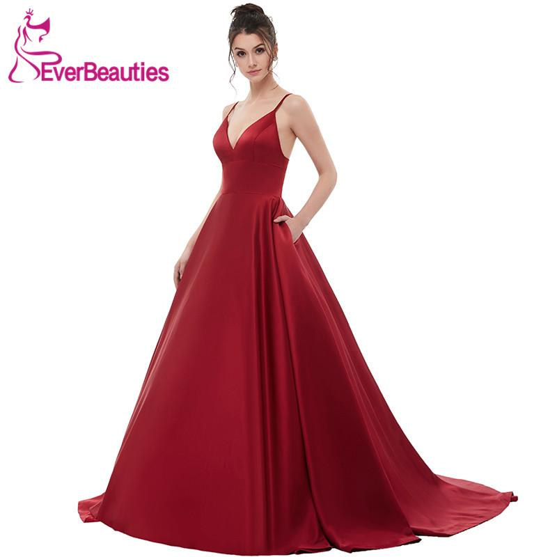260b703c876 Wine Red Sexy Satin Evening Dresses Long 2018 A Line Prom Dresses Evening  Party Gown Open Back Robe De Soiree With Pockets Grecian Evening Dresses  Cheapest ...