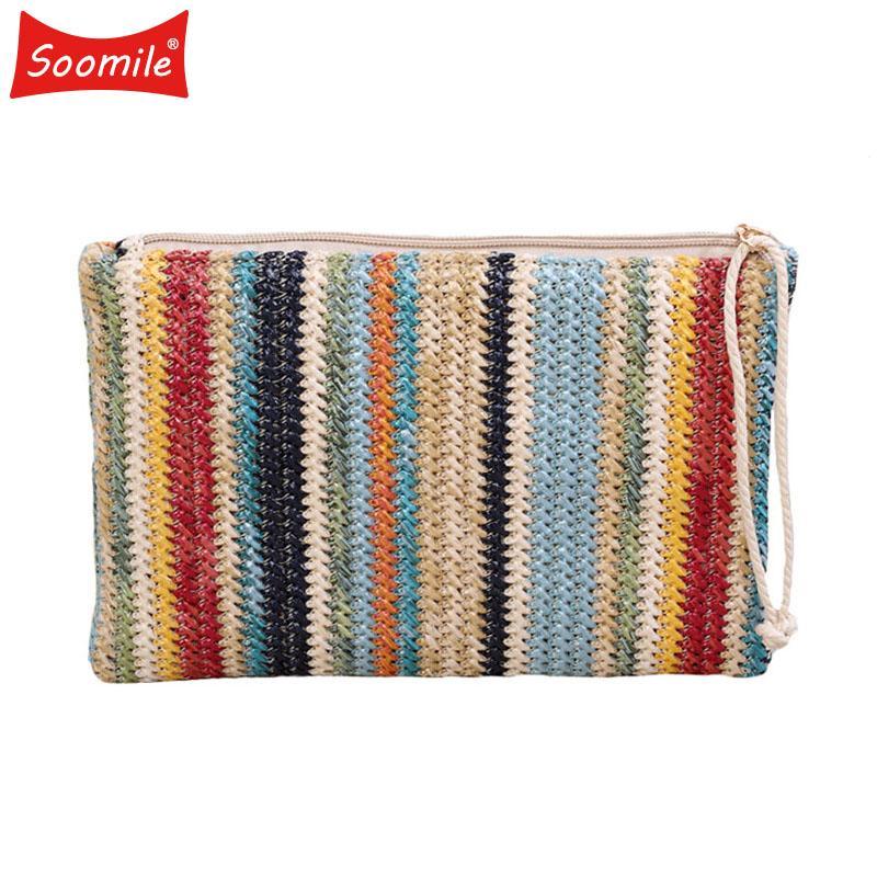 98a3504a23 Acquista 2018 Borse Donna In Paglia Saldi Color Stripe Impunturate Summer  Clutch Bags Borse Piccole Da Polso Borsa Da Donna Casual Busta A $42.82 Dal  ...