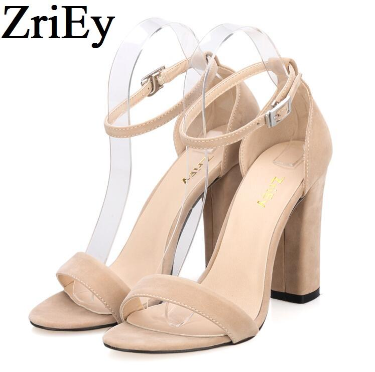 212ece38b67 ZriEy Ankle Strap Pumps Summer Shoes Woman Large Size 35 42 Chunky High  Heels Women Sandals Candy Colors Bride Party BY17864 Purple Shoes Ladies  Footwear ...