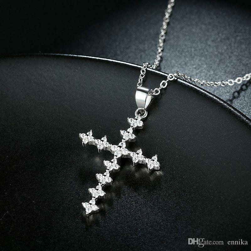 Sterling Silver 925 Necklace Lady Zircon Jewelry Pure Silver Combined Cross Pendant Necklace n112