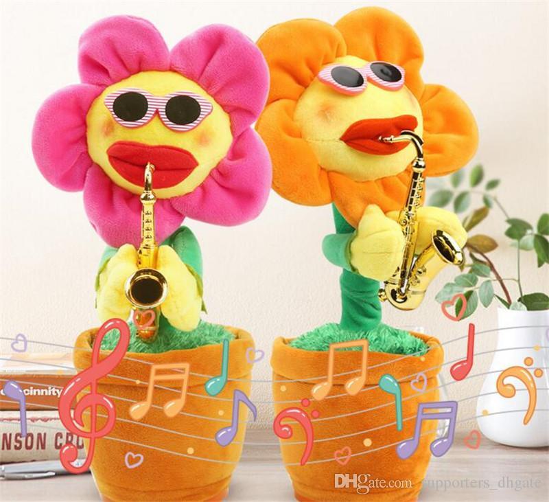 girasoli della novità giocattolo elettrico canto Musica Sexy Musical Fiore Danza Sassofono ripiene gioco bluetooth e incantevole build-in 16 canzoni