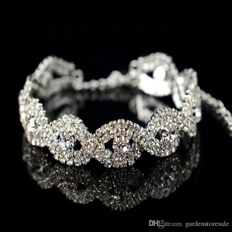 Monili di lusso del braccialetto del braccialetto di cristallo del Rhinestone d'argento di lusso il regalo della ragazza delle donne