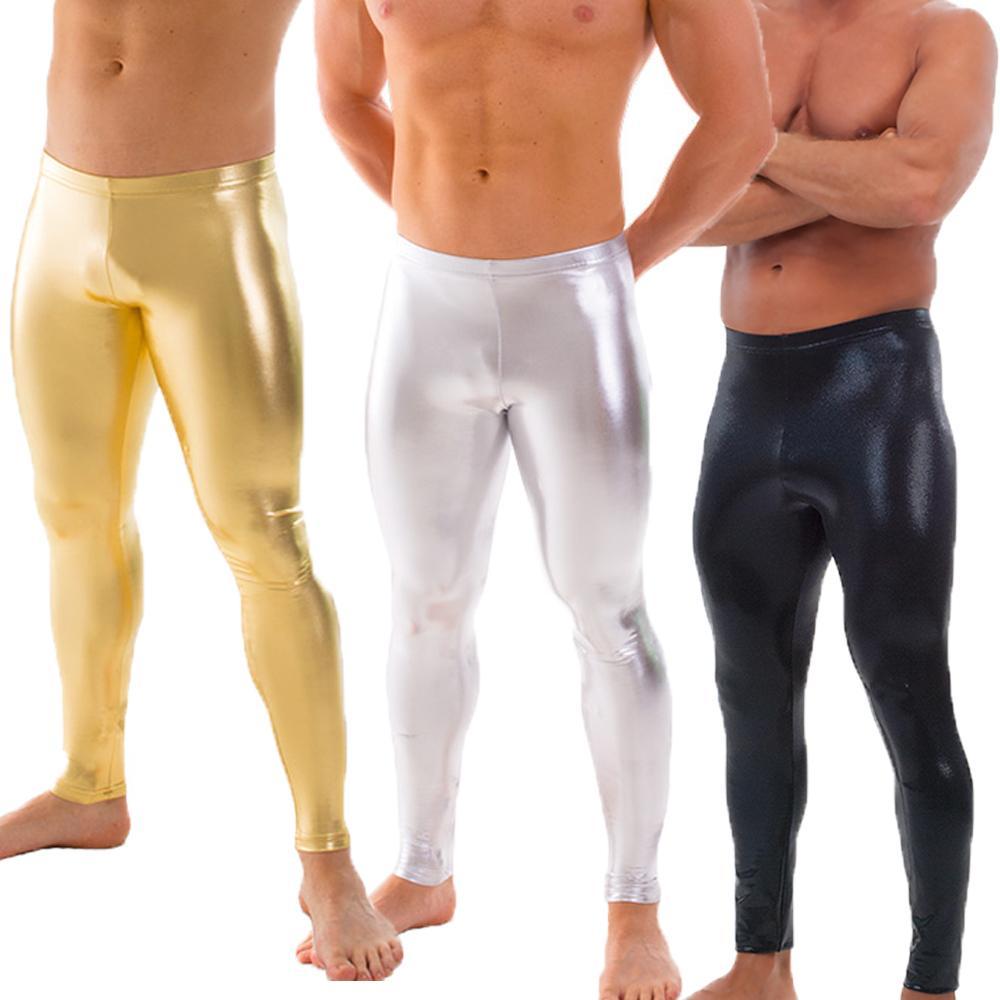 47acc2062c1160 Großhandel OVIGILY Herren Gold Silber Schwarz Metallic Dance Leggings Shiny  Stage Performance Hosen Spandex Skinny Leggings Für Erwachsene Und Jungen  Von ...