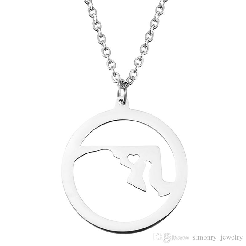 Maryland Map Pendant Necklace with Love Heart Stainless Steel USA State MD Geography Map Necklaces Jewelry for Women and Men