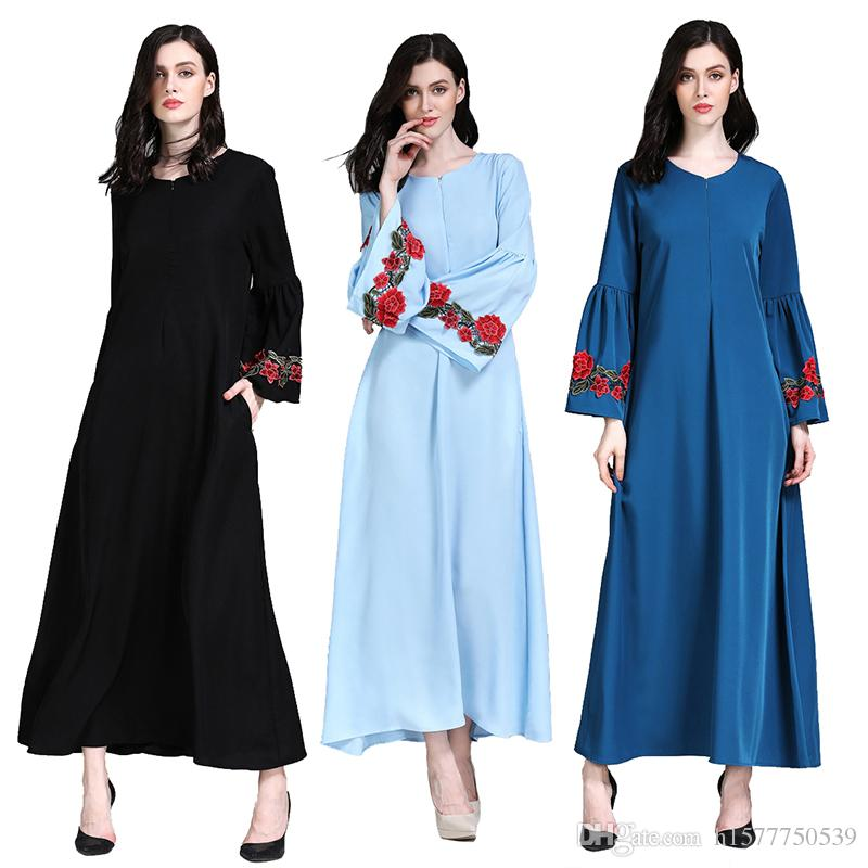 125efb8253 2019 Middle East Plus Size XXL Abaya Dubai Turkish Muslim Loose Embroidery  Dress Clothing Kaftan Islamic Dress Abayas For Women Robe Musulmane From ...
