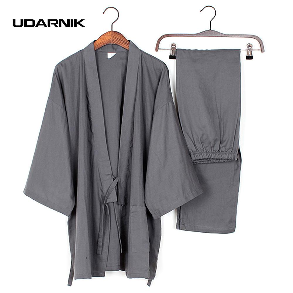 cee5d4d21d Men Cotton Long Winter Kimono Pajamas Pants Set House Coat Sleepwear ...