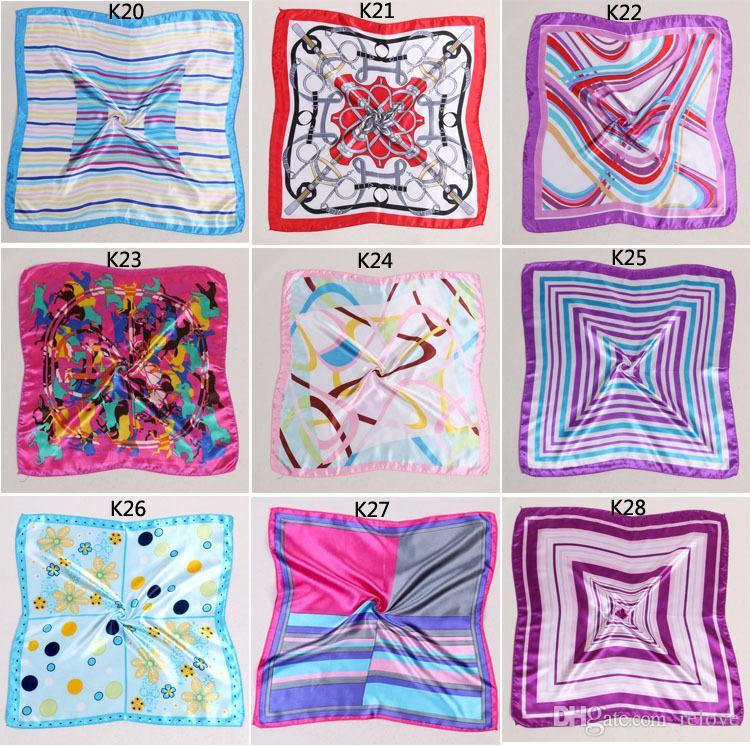 Lo nuevo al por mayor Mujeres Niñas Estilo Coreano Hotel Camarero Asistentes de Vuelo Impresión de Negocios Square Imitar Pañuelo de Seda 50x50 cm