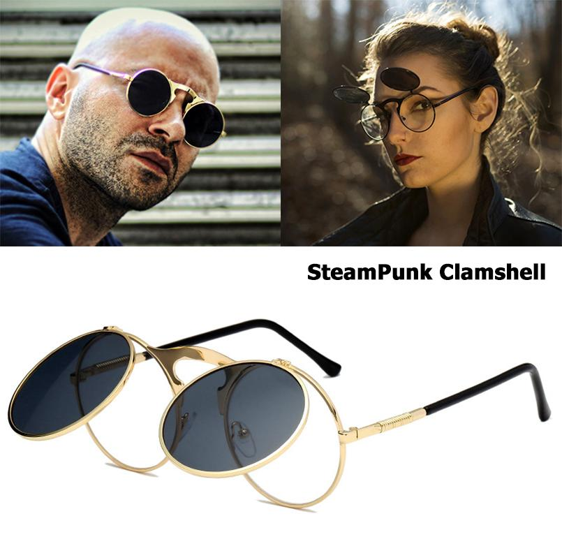 463c0e0b4d46 JackJad 2018 New Fashion VINTAGE Round STEAMPUNK Flip Up Sunglasses ...