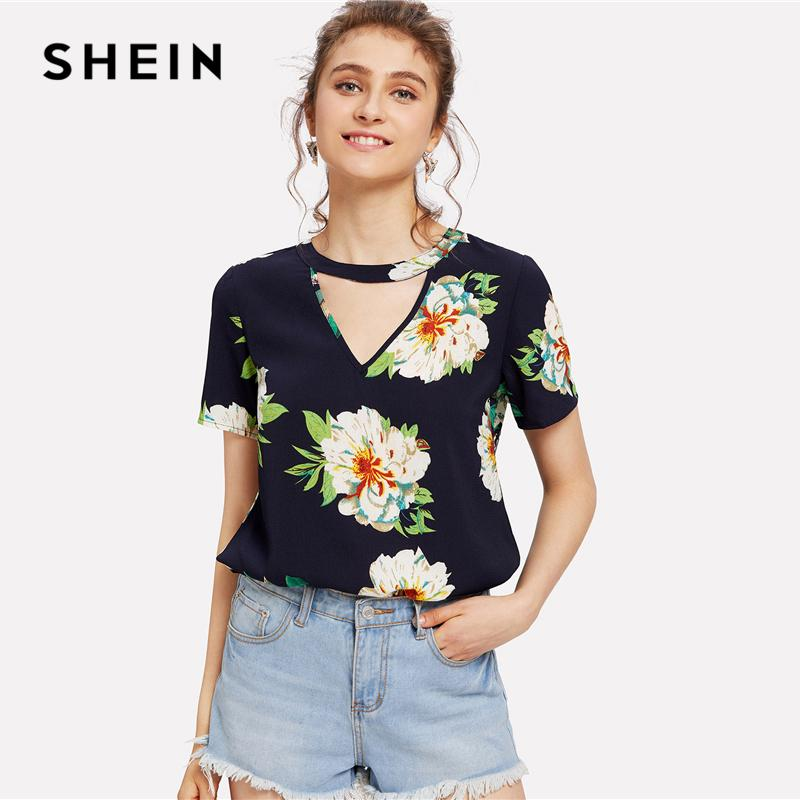 f188b31a7c 20187 SHEIN Navy Weekend Casual V Cut Neck Keyhole Back Floral Button Short  Sleeve Blouse Summer Women Going Out Shirt Top
