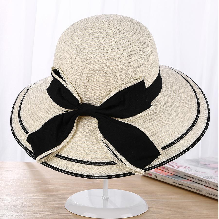 25a894d2acdbd Compre Señora Sombrero De Paja Verano Versión Coreana De Bowknot Aleros  Grandes Sombrilla Sombreros Playa Sombreros Sol Al Aire Libre A  36.39 Del  Harrieta ...