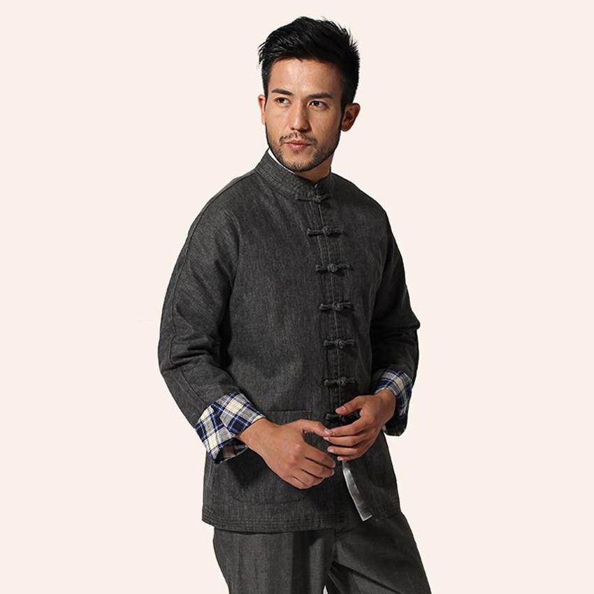High Quality Dark Gray Chinese Male Kung Fu Jacket Men Linen Cotton Coat Traditional Tang Suit Top M L XL XXL XXXL MN04