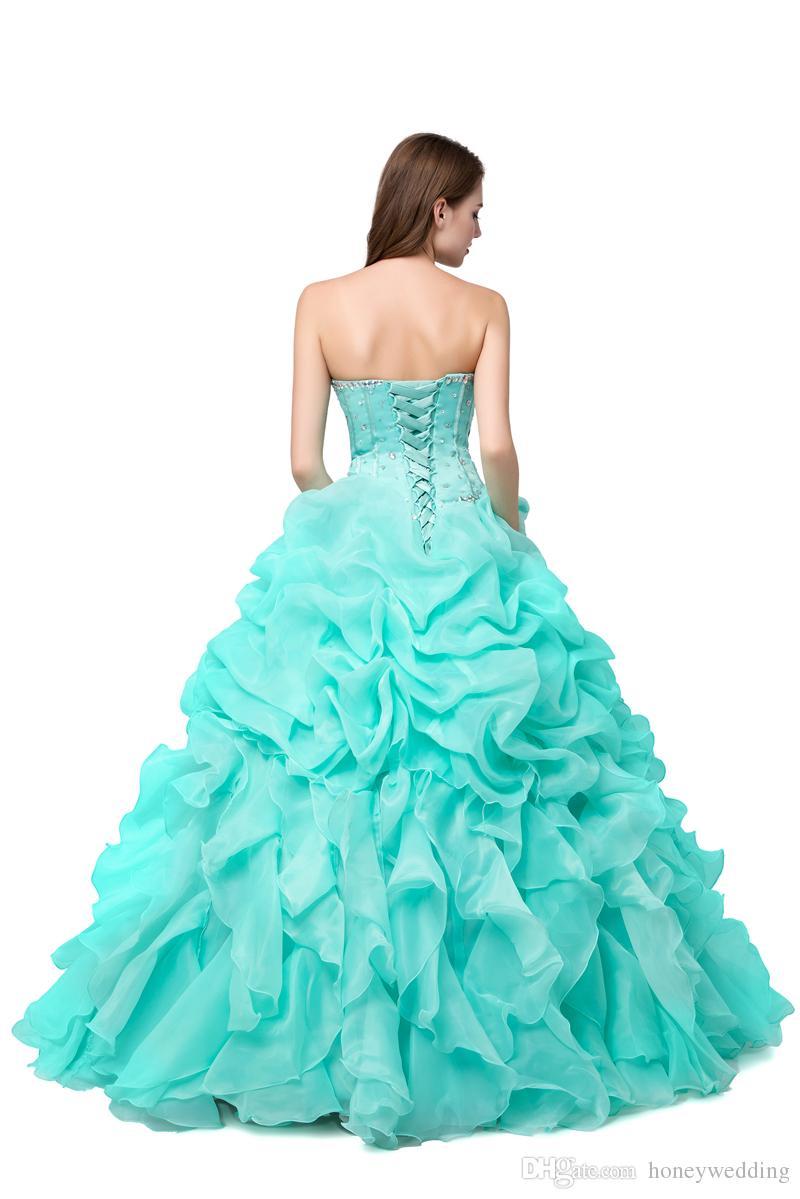 Mint Green Quinceanera Vestidos Barato 2019 Vestido de fiesta de disfraces Vestidos de baile Foto real Con cuentas de cristal Volantes Rosa Dulce 16 Vestido
