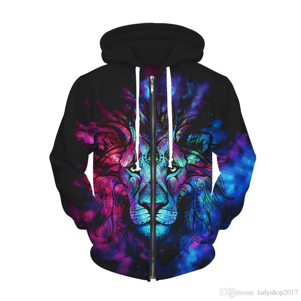 fe1ff77095f9 Acheter 3D Veste Hommes Womens Hoodies Manteau Floral Lion 3d Impression À  Capuche Animal Graphique Unisexe Pull Vestes Survêtement De  39.08 Du ...