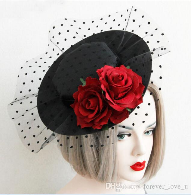 2018 Fashion Bridal Hats Black Hat Red Imitation Rose Handmade Flowers Sexy  Wedding Party Accessories Head Wear with Tulle e9a22a7d48a