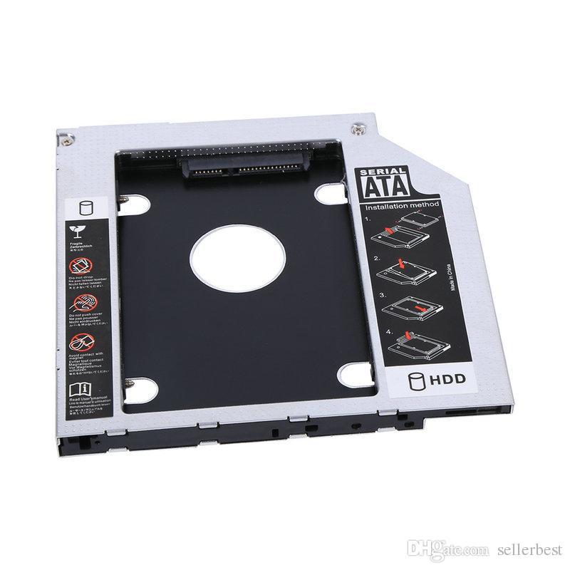 9.5mm Alüminyum SATA HDD SSD Muhafaza Sabit Disk Sürücüsü Bay Caddy Optik DVD Adaptörü Perakende Paketi ile Laptop için Ücretsiz nakliye