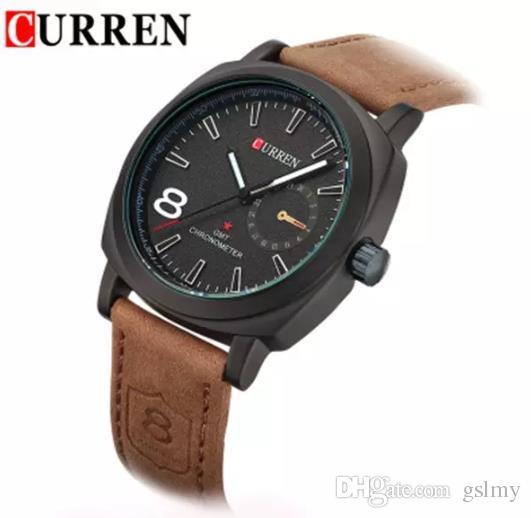 295aca564b90 Compre 2018 Nueva Marca De Lujo Curren Relojes Para Hombre Correa De Cuero  De Moda Casual De Cuarzo Militar Relojes Hombres Deportes Al Aire Libre ...