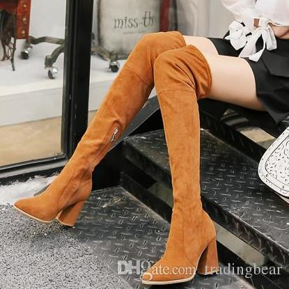 889a6321 Lena ViVi yellow brown chunky heel over the knee boots thigh high boots zip  side black size 35 to 39