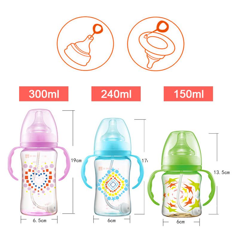GB Buy 1 get 6 Gifts Baby Bottle Infant Newborn Children Learn Feeding Drinking Handle Bottle Kids Automatic Straw Training Cup