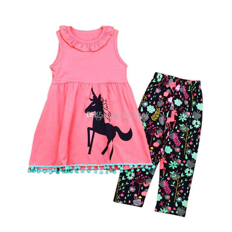 Baby girls unicorn Printed outfits cartoon Children Vest dress top+pants 2018 new Kids Clothing Sets C3732
