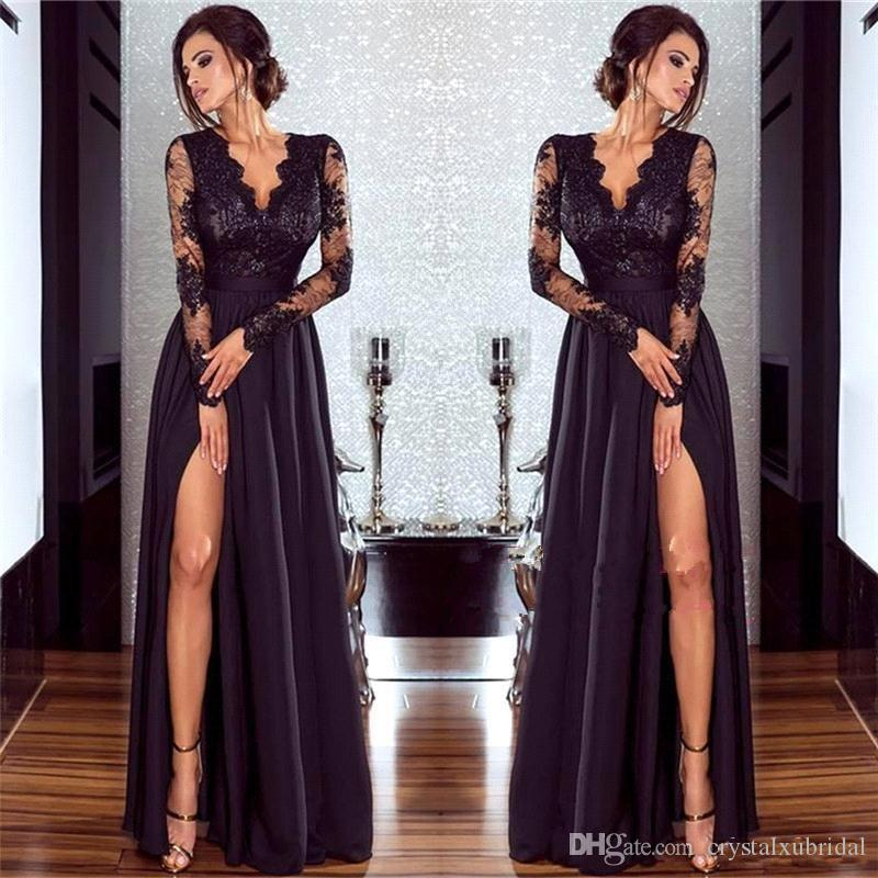Long Sleeve Lace Illusion Plus Size Prom Dresses