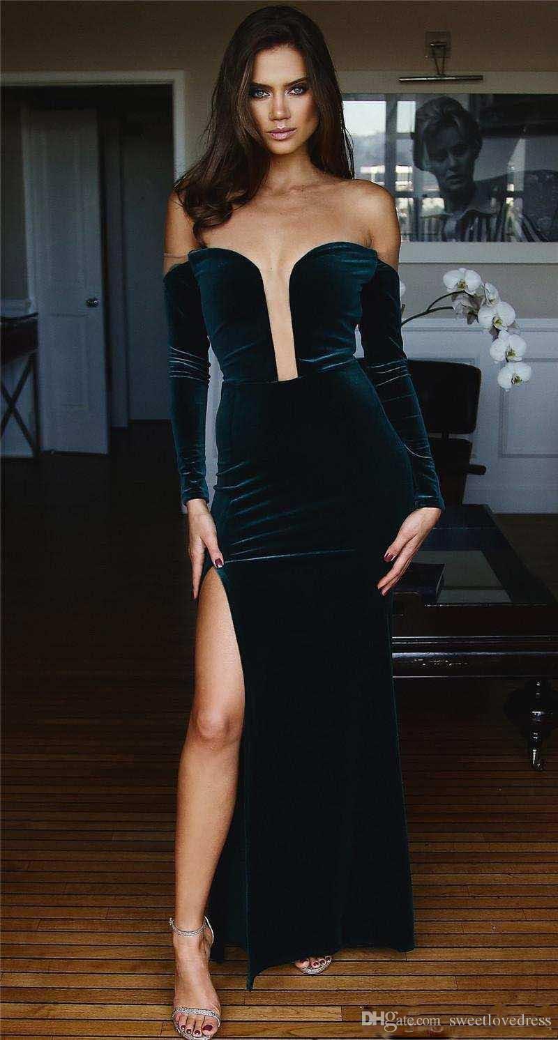 2018 Fashion Sexy Tiefer Ausschnitt Langarm Meerjungfrau Prom Dresse Split Side Samt Formale Abendkleider Backless Party Wear