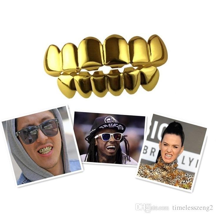 15 Designs Позолоченных Hip Hop зубы Grillz Top Bottom Грили Dental Mouth Punk зубы Caps Cosplay партия Vampire Зуб Рэпер подарок ювелирных изделия
