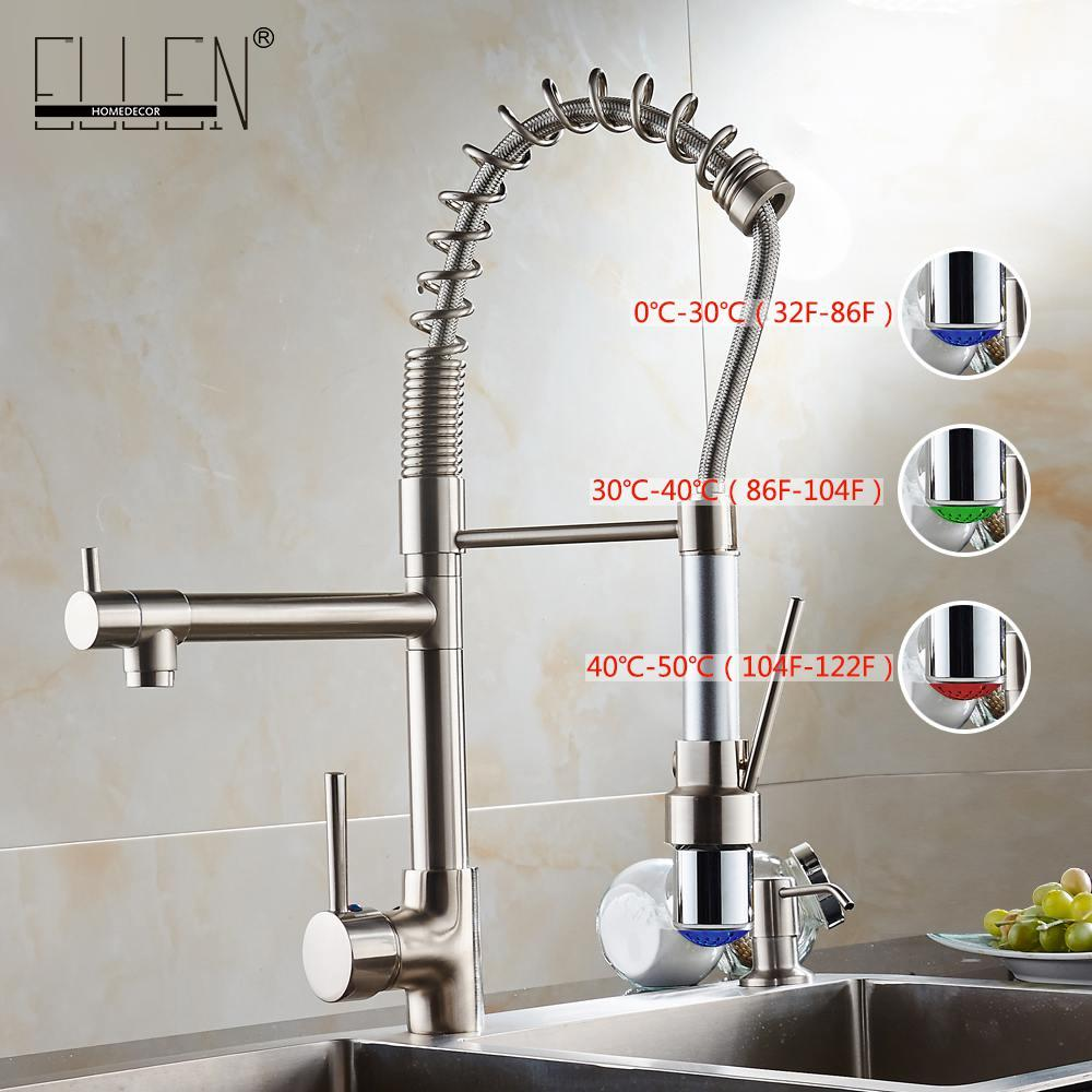 Großhandel Wasserhahn Küche Herausziehen Wasserhahn Led Licht ...