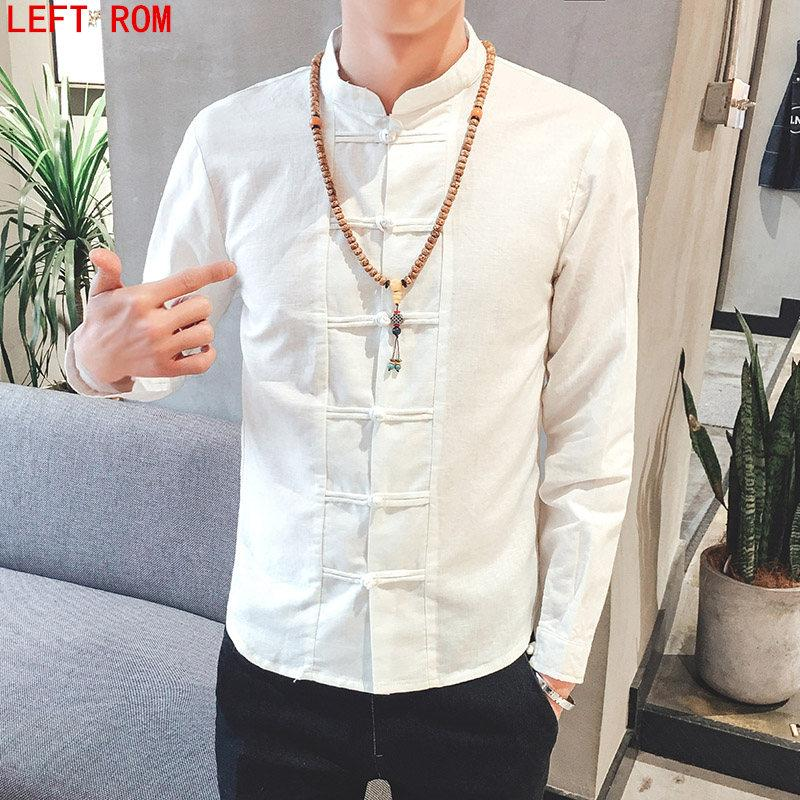 6764e057e96 2019 Autumn Big Size M 5XL 2017 Summer Boy Shirt Long Sleeves Solid Color  Stand Collar Man Chinese Wind Shirt Cotton And Linen Shirts From Caeley