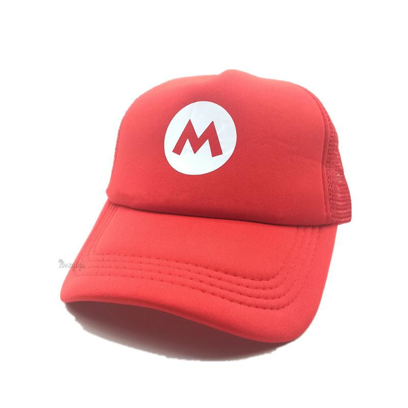 1bac37ef8 Super Mario Bros Hat Cartoon Brand Baseball Cap Mesh Red Mario Anime  Cosplay Costume Hat Summer Bone Adjustable Letter M Hats