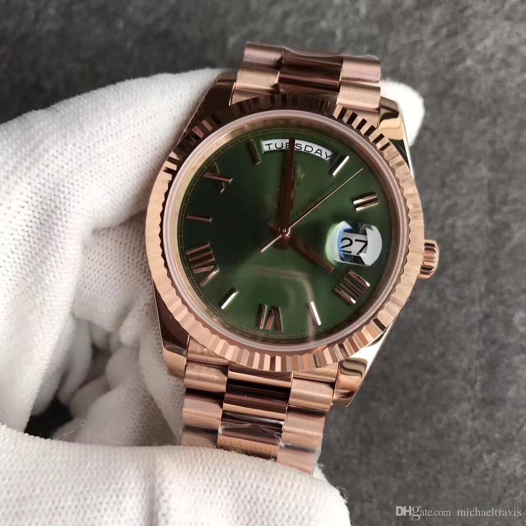 11b1e2b43f3 Compre 2018 AAA Venda Quente 18 K Rose Gold Original Fecho Mens Watch Day  Green Face Presidente 116 719 Relógios Automáticos MEN Frete Grátis De ...