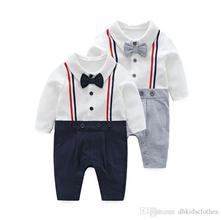 7a5ff9b84 Baby Rompers 2018 Newborn Gentleman Clothing Set Infant Bow Tie ...