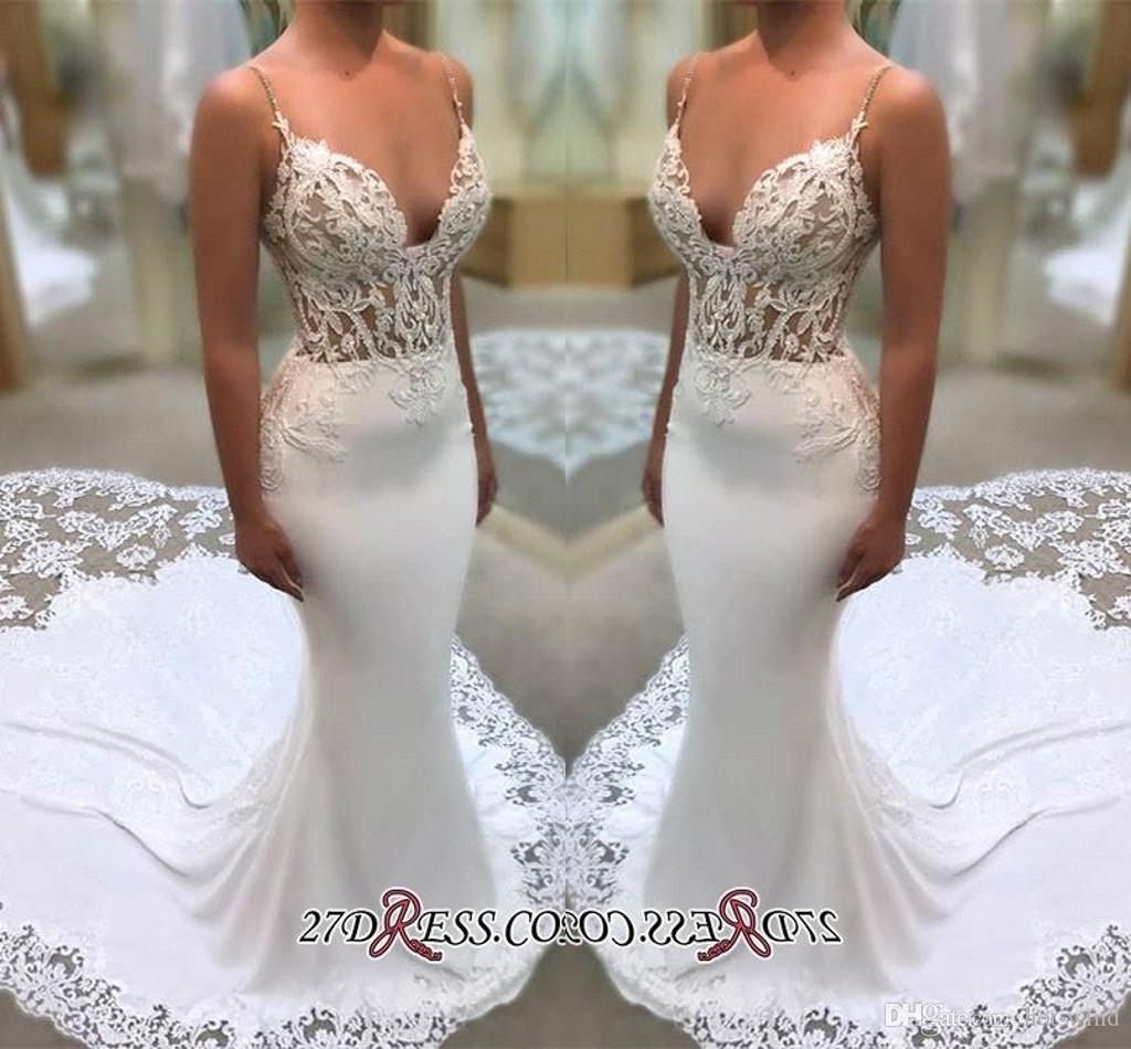 2d2a7c4aba68 2019 Spaghetti Straps Mermaid Wedding Dresses Illusion Sides Lace Appliqued Wedding  Bridal Gowns With Court Train BA9941 Mermaid Evening Dress Mermaid Lace ...