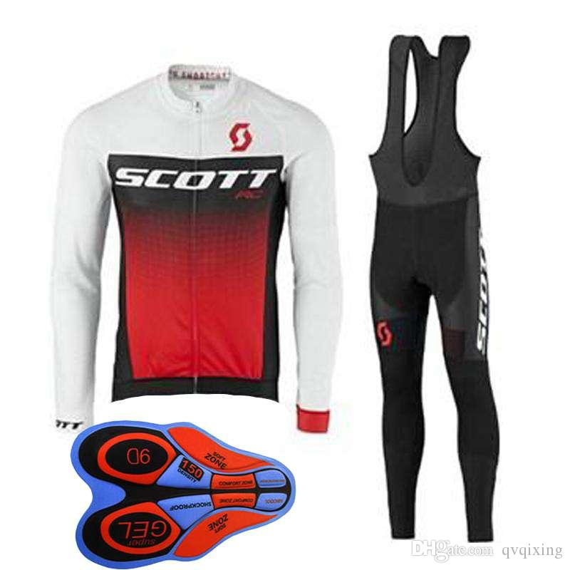 SCOTT team long Cycling Sleeves jersey (bib) pants sets mens quick dry trend hot sale Breathable 61301X