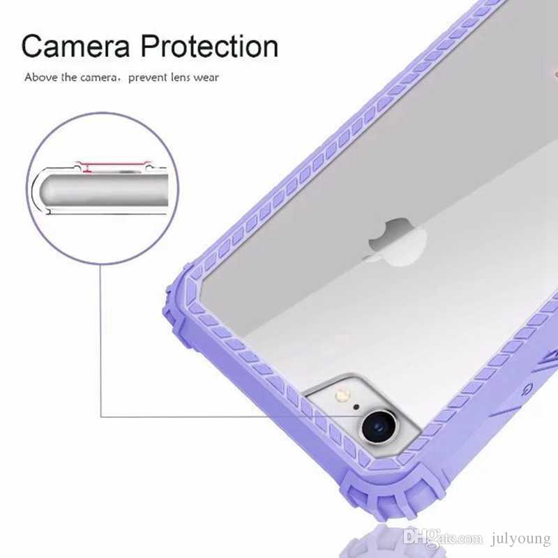 Armor Shockproof Hard Plastic+Soft TPU Case For Iphone 8 7 Plus Gel Hybrid Dual Clear Transparent Bumper Frame Front +Back Cover Skin